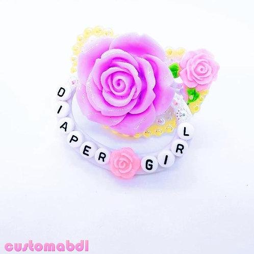 D Girl La Fleur - White, Yellow, Pink & Lavender - Rose, Flower