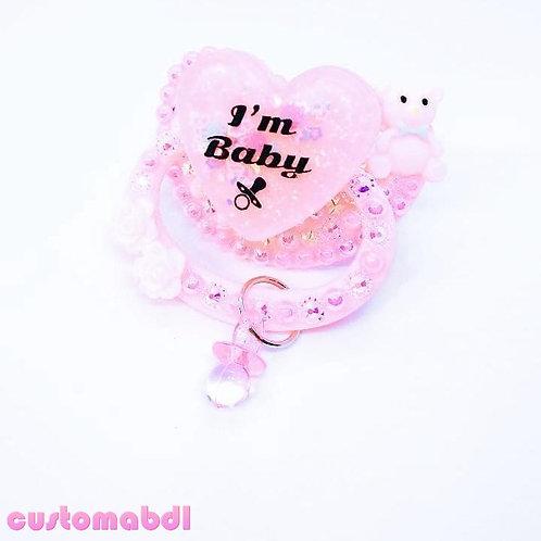 I'm Baby Heart w/Charm - Pink