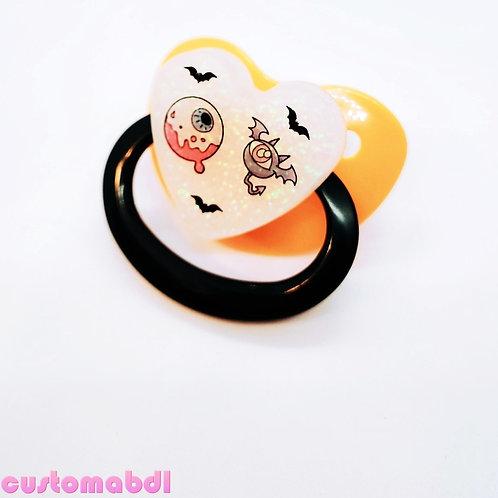 Spooky Eyeballs Heart - Orange, Black & White