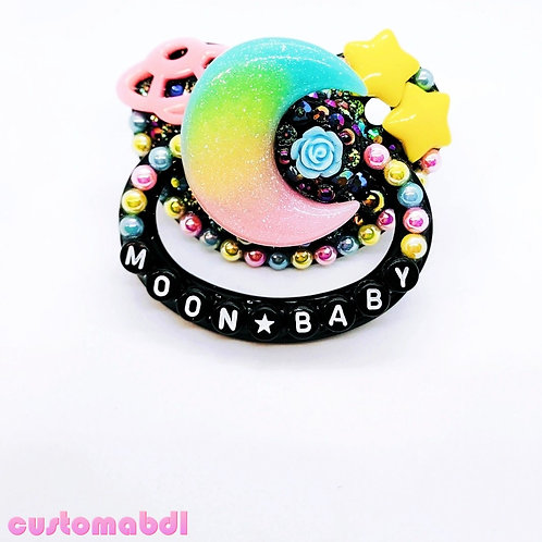 Moon Baby - Black, Yellow, Pink & Baby Blue - Space, Stars, Planet