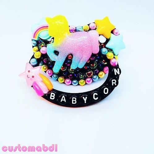 Babycorn Unicorn - Black, Yellow, Pink & Baby Blue - Stars, Rainbow, Space