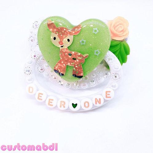 Deer One - White, Green & Orange