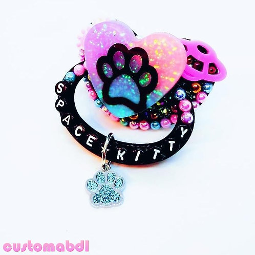 Space Kitty Heart w/Charm - Black, Pink, Lavender & Baby Blue - Paw, Cat, Kitten