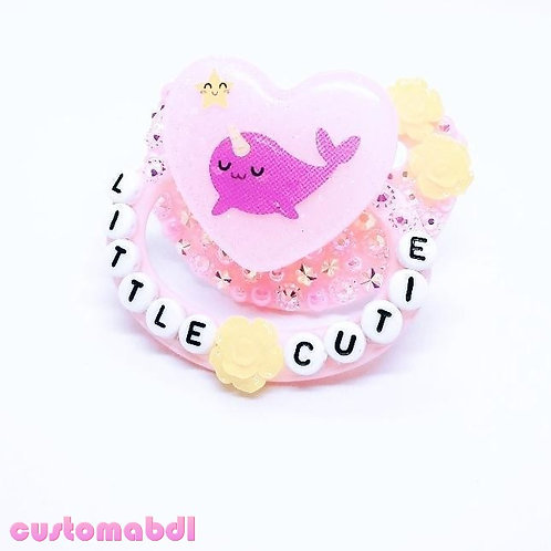 Little Cutie Narwhal Heart - Pink & Yellow