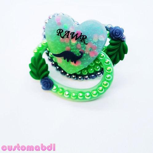 Rawr Dinosaur Heart - Green & Blue