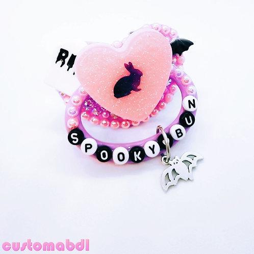Spooky Bun Heart w/Charm - Lavender, Pink & White - Rabbit, Bat, Tombstone