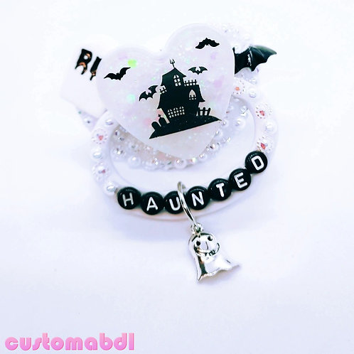 Haunted House Heart w/Charm - White & Black - Ghost, Bats, RIP, Tombstone