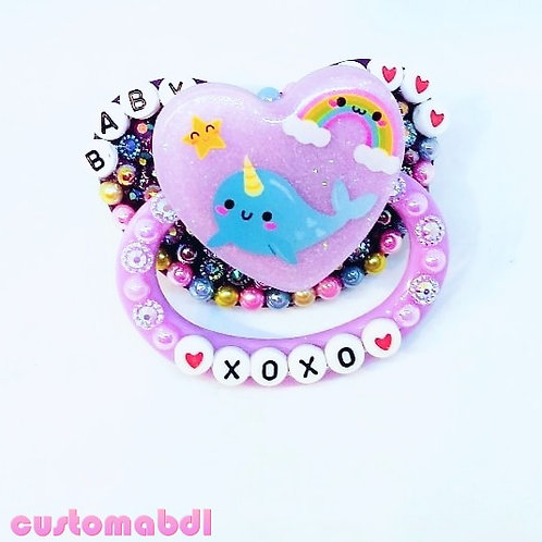 Baby XoXo Narwhal Heart - Purple, Lavender, Baby Blue, Pink & Yellow
