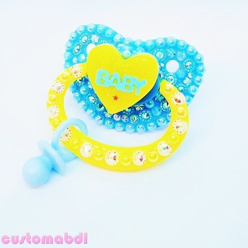 Baby Heart w/Charm - Baby Blue & Yellow