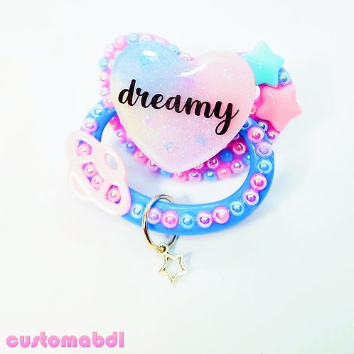 Dreamy Heart w/Charm - Lavender, Baby Blue & Pink - Space, Stars, Planet