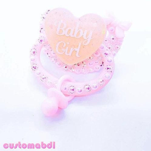 Baby Girl Heart w/Charm - Pink