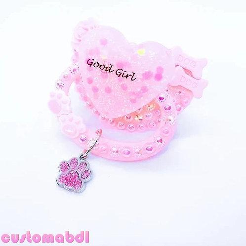 Good Girl Heart w/Charm - Pink - Dog Bones, Pup Paws