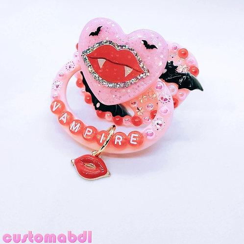Vampire Bat Heart w/Charm - Pink, Red & Black - Spooky
