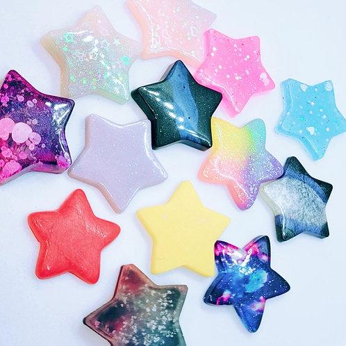 4 Piece Resin Star Flatback - Random Color Selection