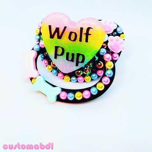 Wolf Pup Heart - Black, Yellow, Pink & Baby Blue - Paws, Dog Bone