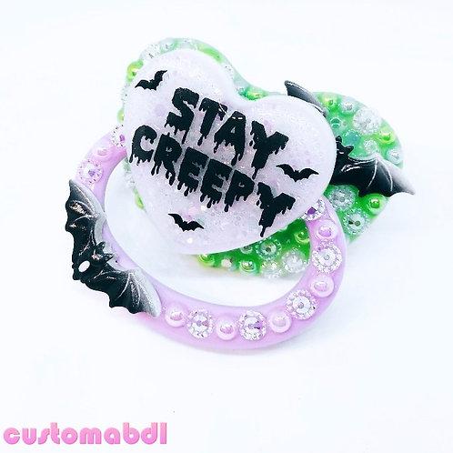 Stay Creepy - Green, Lavender & Black - Bat