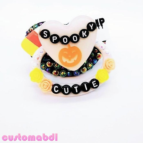 Spooky Cutie Heart - Black, White  Orange & Yellow - Pumpkin, Candy, Tombstone