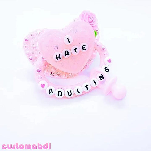 I Hate Adulting Heart w/Charm - Pink