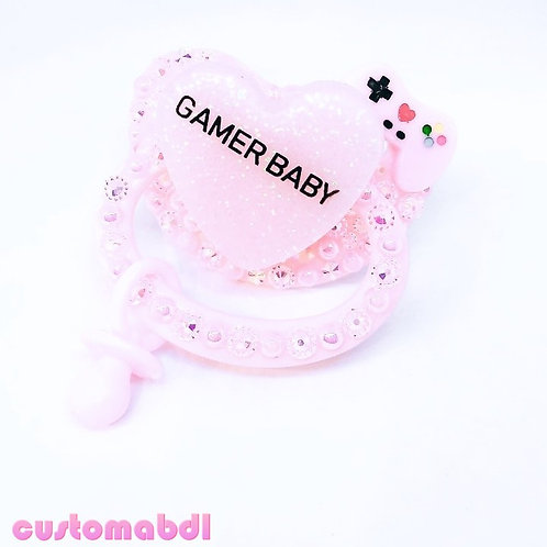 Gamer Baby Heart w/Charm - Pink