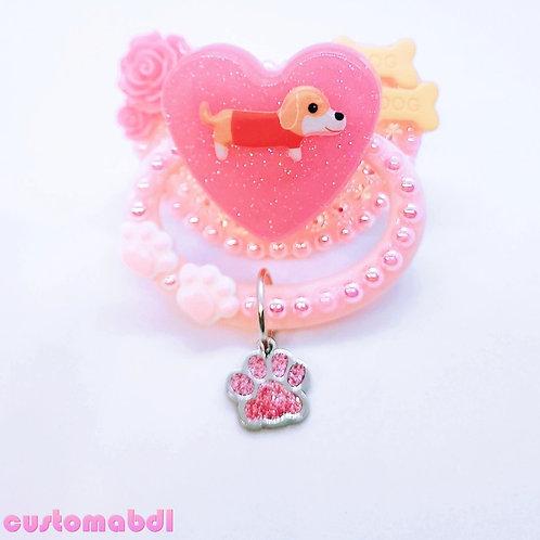 Puppy Dog Heart w/Charm - Pink, Dark Pink & Orange - Bones, Paws