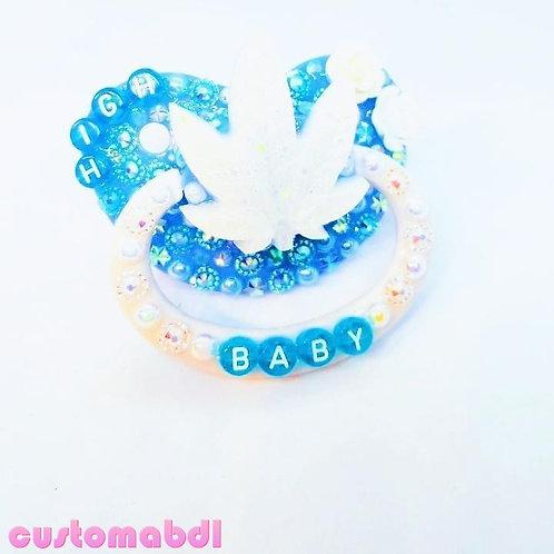 H Baby Leaf - Baby Blue & White