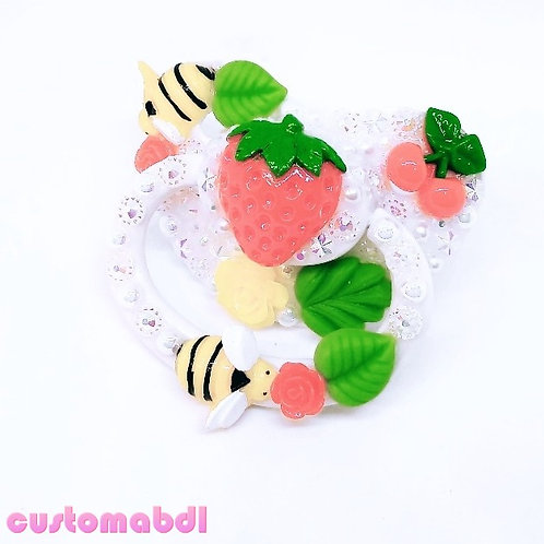 Strawberry Bee - White, Yellow, Red & Green