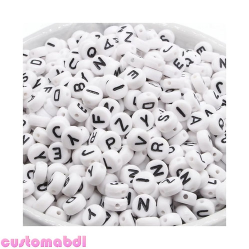 Letter Beads - 100 Pieces - 7mm - White
