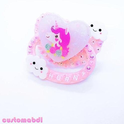 H Unicorn Heart - Pink & Lavender - Clouds