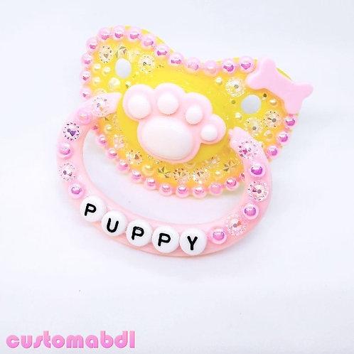 Puppy Paw - Yellow & Pink - Dog Bone