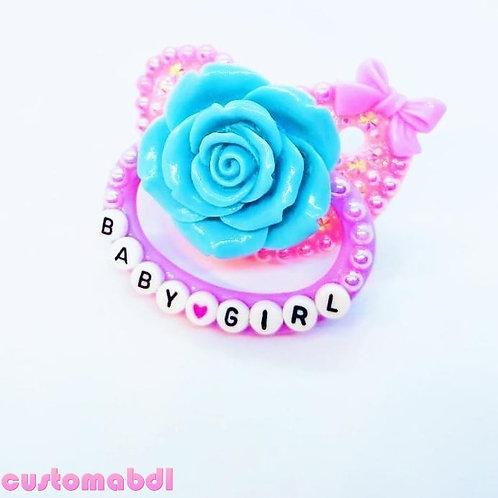 Baby Girl La Fleur - Pink, Lavender & Baby Blue - Rose, Flower, Floral