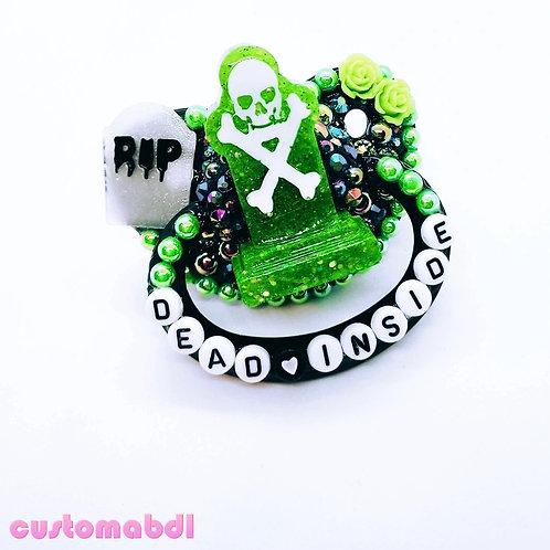 Dead Inside Skeleton Tombstone - Black, Green & White - RIP