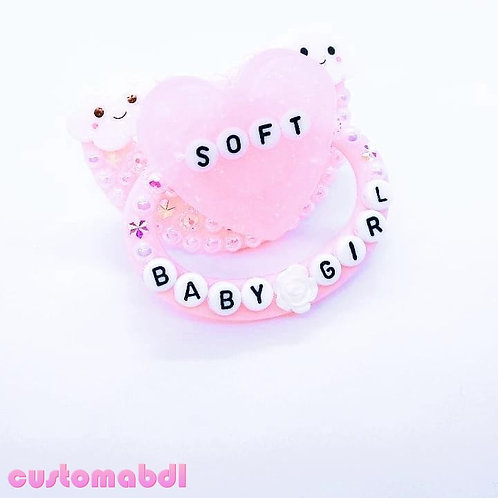Soft Baby Girl Heart & Clouds - Pink