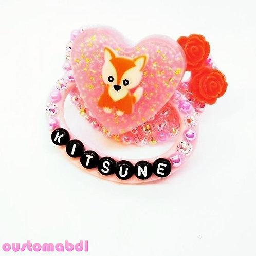 Kitsune Fox Heart - Pink & Orange