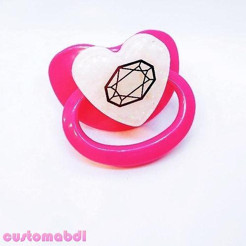 Simple Crystal Heart - Fuschia & White