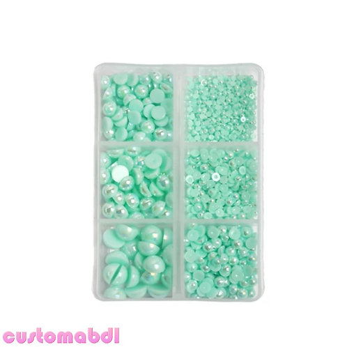 AB Flatback Pearls - 2mm-8mm - 1000 Pieces - Mint Green
