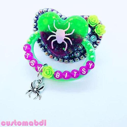 Itsy Bitsy Spider Heart w/Charm - Purple & Green