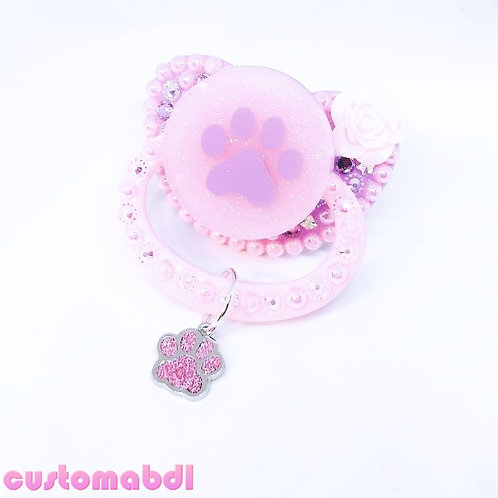 Paw w/Paw Charm - Lavender & Pink
