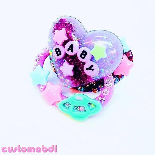 Space Baby Heart - Purple & Lavender - Planet, Stars