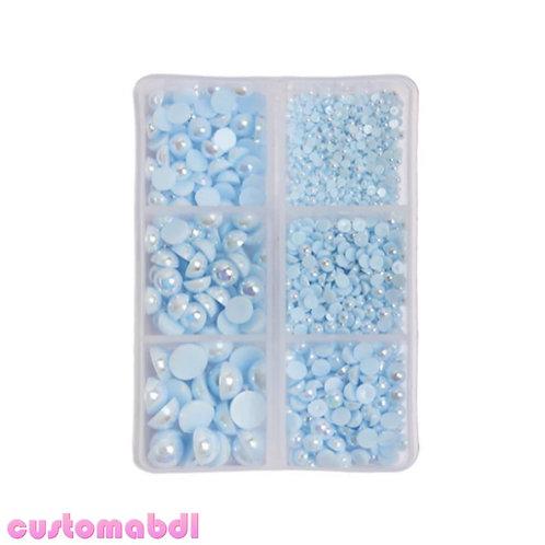 AB Flatback Pearls - 2mm-8mm - 1000 Pieces - Powder Blue