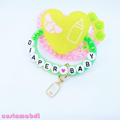 D Baby Heart w/Charm - Pink & Green