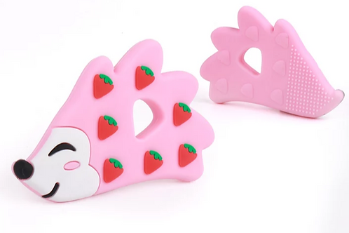 Silicone Teether - Strawberry Hedgehog - Pink