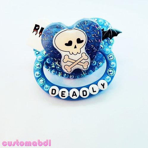 Deadly Skull Heart - Baby Blue - Bat - RIP Tombstone