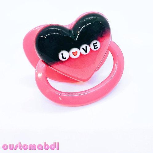 Simple LOVE Heart - Dark Pink & Black