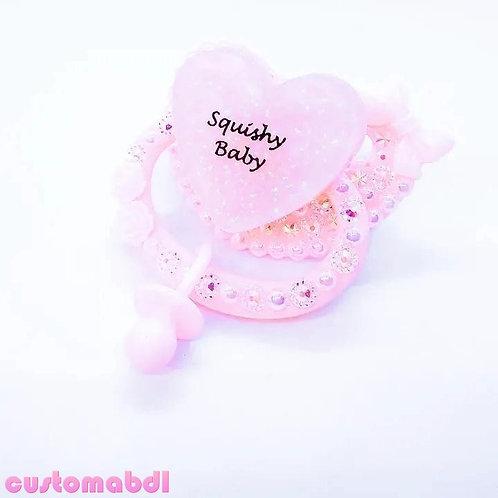 Squishy Baby Heart w/Charm - Pink