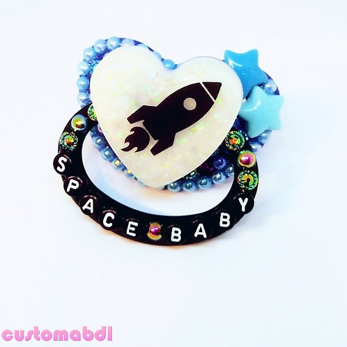 Space Baby Heart - Black, Blue, Baby Blue & White