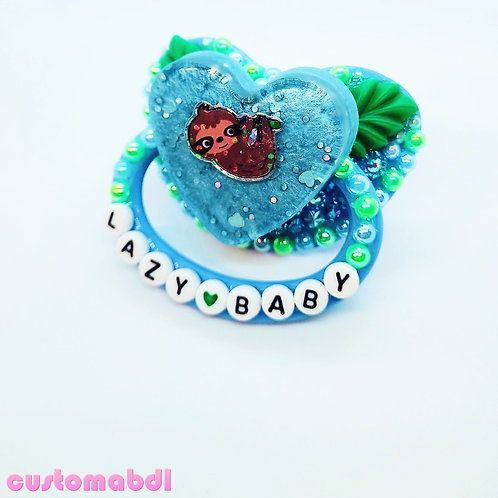 Lazy Baby Sloth Heart - Baby Blue & Green