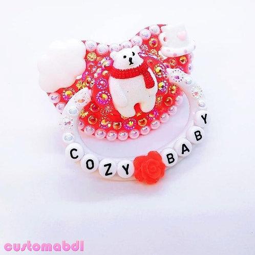 Cozy Baby Polar Bear - Red & White - Coffee, Cloud, Winter, Christmas