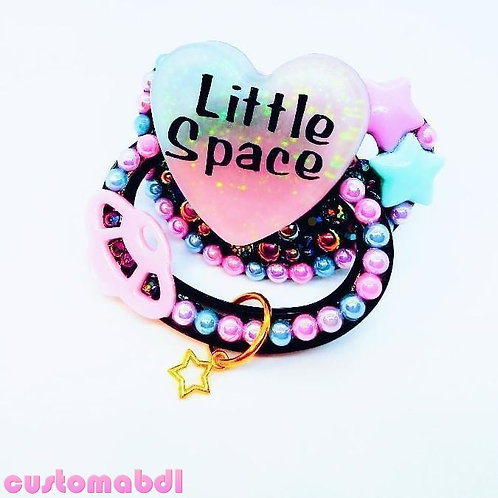 Little Space Heart w/Charm - Black, Pink, Lavender & Baby Blue - Stars