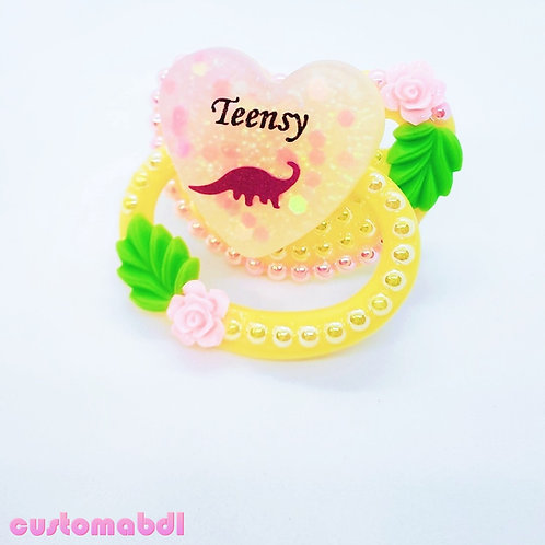 Teensy Dinosaur Heart - Yellow & Pink