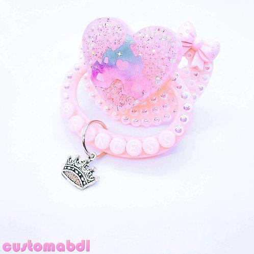Princess Castle Heart w/Charm - Pink